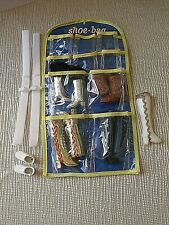 1980s Barbie Shoe Bag With 4 pair of Boots , Skis , poles and Ski Shoes