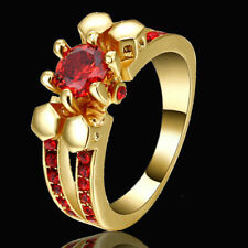 US SELLER Red Ruby Inlay Solitaire Ring Yellow Gold Filled Finger Ring Size 8