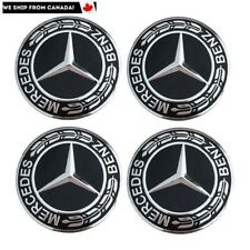 4 PCS 75mm Mercedes Benz Black / Sliver Laurel Wreath Wheel Hub Center Caps