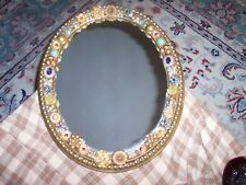 """Vintage Costume Jewelry Embellished Plastic Ornate Mirror Wall Hanging 16.5"""" Vg"""