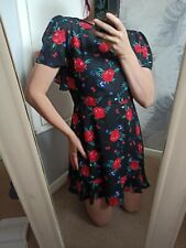 Bnwt Asos Fashion Union Black Red Floral Bare Back Frilled Dress 14 Petite