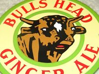 "VINTAGE BULLS HEAD GINGER ALE W/ BULL  4"" PORCELAIN METAL GAS OIL SODA POP SIGN!"