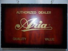 ARIA GUITAR VTG 1980s ELECTRIC ACOUSTIC BASS Authorized Dealer Wooden Sign ORIG