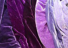 "Big Purple Sample Set - Hand Dyed Silk Velvet Fabric - 9""x22"" Each"