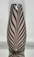 "Vintage Studio Art Murano Design Art Glass Pulled Feather 15"" Vase Sculpture"