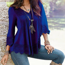 New Fashion Women Summer Long Sleeve Shirt Casual Blouse Lace Loose Tops T Shirt