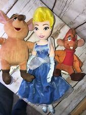 "3 Disney Store  Cinderella 15"" Gus Jak Plush Doll Stuffed Toy lot"