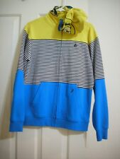 Volcom Sweatshirt Hoodie XL 14-16 Boys Blue Yellow Stripes Zip Hood Pockets New