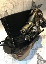 Steampunk Negro tafetán sombrero de copa con pistola de mano hecha a mano uno de 58 Cm