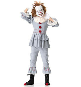Mens Pennywise IT Fancy Dress Costume Deluxe Adult Halloween Killer Clown Outfit