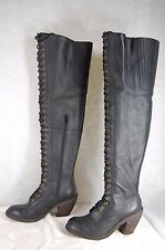 JEFFREY CAMPBELL Distressed Leather Lace Up BIKER OVER THE KNEE BOOTS SIZE 9.5