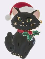 CHRISTMAS BLACK KITTY CAT WEARING SANTA HAT HOLLY BERRY ON COLLAR BROOCH PENDANT