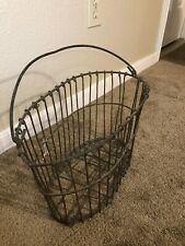Antique Primitive Heavy Duty Vintage Wire Basket w/ Handle Oval Special Nice