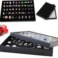 New 100 Holes Rings Display Storage Box Tray Show Case Organiser Earrings Holder