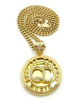 "ICED OUT QUALITY CONTROL MUSIC ""QC"" PENDANT 6mm/24"" CUBAN CHAIN NECKLACE CP174G"