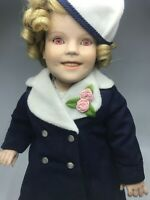 """Danbury Mint 17"""" Porcelain Doll Shirley Temple Movie Premier w/ Stand Pink Eyes"""