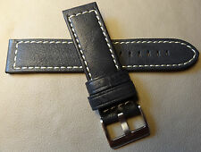 Genuine Leather Black High Contrast White Stitching 22mm Smartwatch Watch Band