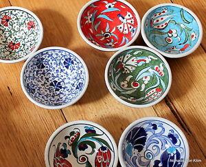 Turkish ceramic bowls (8cm) handmade - handpainted, food safe - TRADITIONAL