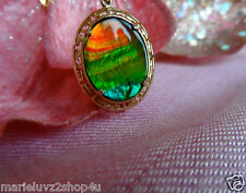 NEW 14k YELLOW GOLD GREEK KEY 20 X 15 STUNNING AMMOLITE PENDANT & GOLD CHAIN !