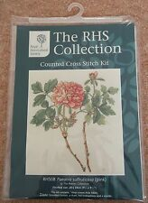 ANCHOR ROYAL HORTICULTURAL SOCIETY COUNTED CROSS STITCH KIT PAEONIA PINK FLOWER