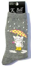 "Cat Socks ""Rainy Day Cat"" Grey Socks * One Size Fits Most"