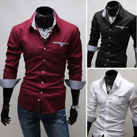 New Mens Fashion  Luxury Casual Slim Fit Stylish Dress Shirts 3 Colors