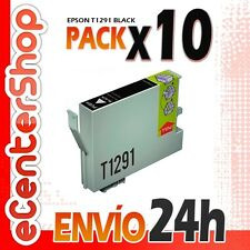 10 Cartuchos de Tinta Negra T1291 NON-OEM Epson WorkForce WF-3520D WF 24H