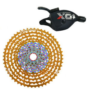 SRAM X01 Eagle Trigger Shifter Red w/ KCNC 12 Speed Cassette 9-52 Teeth Gold