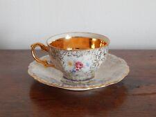 ANCIENNE TASSE à Café avec SOUS TASSE en Porcelaine BAVARIA à Décor FLEUR
