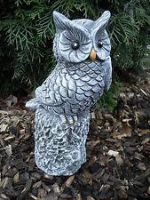 Steinfigur große Eule auf Baumstamm  Frostfest Wetterfest Steinguss Garten Deko