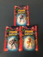 Spiderman Poseable Die-Cast Marvel Iron Man Classic & Captain America 3in Lot