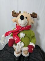 """Gemmy Christmas Animated Moose Reindeer Singing Dancing Bells 14"""" Inch VIDEO"""