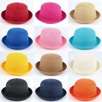 Fashion Women Summer Straw Bowler Derby Hat Cap Roll up Clothe Beach Sun Cap New