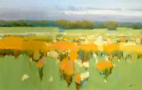 Meadow, Original Oil painting, Large Size painting, One of a kind