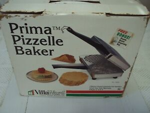 VillaWare USA Chrome Prima Pizzelle Baker Maker Iron 5000. Holiday Cookie.Tested