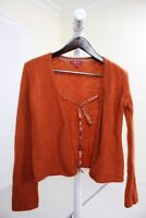 Monsoon Mohair, Nylon & Wool Blend Rust Open Tied Cardigan Sweater Size - 8