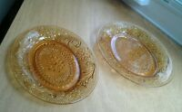 "2 Vintage Amber Tiara Sandwich Glass Oval Bread Plates 8 1/2"" x 7"""