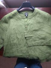 Eileen Fisher green linen shirt, jacket size M ( 8/10/12). VGC