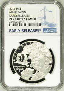:2016-P $1 Mark Twain Commemorative-Silver-Dollar NGC PF 70 ULTRA CAMEO Top-Pop