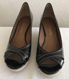 Franco Sarto Wedges Black Patent Leather Espadrille Peep Toe Shoes Size  7.5M