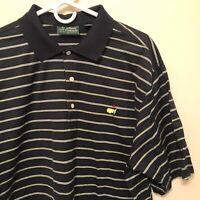 Mens Masters Collection Amen Corner Black Polo Golf Shirt Size XL Pima Cotton