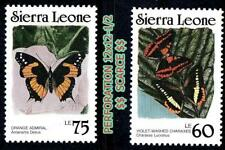 SIERRA LEONE 1989 BUTTERFLIES (rare PERFORATION) SC#871-72a MNH INSECTS