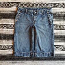 Women's Banana Republic Sz 12P Low Rise Cropped Capri Denim Jeans Medium Wash