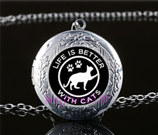 Life is better with cats Glass Tibet Silver Chain Locket Pendant Necklace#S25