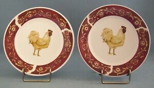 Oneida Farmhouse Rooster Salad Plate White Set Of 2 Casual Settings Stoneware
