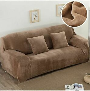 Plush Fabric Sofa Cover 1/2/3/4 Seater Thick Slipcover Couch Sofacovers Elastic