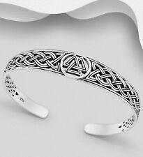 925 sterling silver cuff bangle handmade antiqued Viking Valknut Celtic design