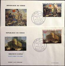 KONGO BRAZZAVILLE 1968 163-4 ex C62-66 Paintings Gemälde Bastille Revolution FDC