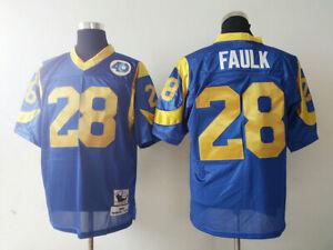 Los Angeles Rams #28 Marshall Faulk Blue Retro Football Jersey Size: M-XXXL