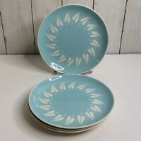 Mid Century Harkerwar 4 Salad Plates Aqua White Leaf Print Shower Luncheon Vtg